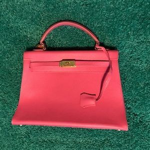 Electric Pink Vintage Italian Leather Bag!